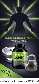Mass gainer ads. Vector realistic illustration of cans with mass gainer powder. Vertical banner with product and sport equipment.