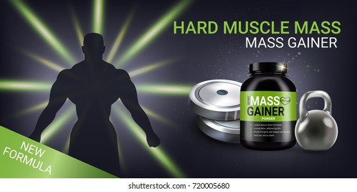 Mass gainer ads. Vector realistic illustration of cans with mass gainer powder. Horizontal banner with product and sport equipment.