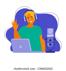 Mass media broadcasting flat vector illustration. Male and female social media network.  Interview, radio, online training, podcast, recording in studio.