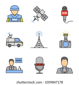 Mass media color icons set. Press. War correspondent, satellite, microphones, news van, radio tower, photo camera, TV presenter. Isolated vector illustrations