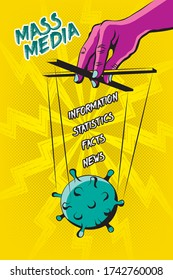Mass Media Covid-19 Information Manipulations Comic Style Conspiracy Concept with Coronavirus Bacteria Controlled by Hand with Puppet Strings - Black on Yellow Background - Vector Hand Drawn Design