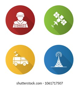 Mass media flat design long shadow glyph icons set. Press. War correspondent, satellite signal, news van, radio tower. Vector silhouette illustration