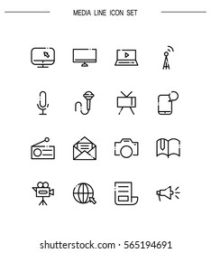 Mass media flat icon set. Collection of high quality outline symbols for web design, mobile app. Mass media vector thin line icons or logo.