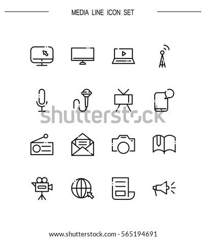 Mass Media Flat Icon Set Collection Stock Vector Royalty Free
