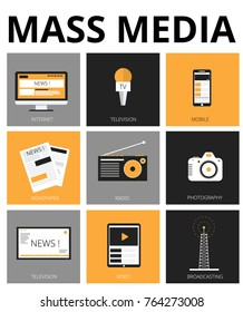 Mass media flat icons. Tv, newspaper,  internet, radio, broadcasting, camera, video, photography. Vector Illustration