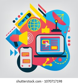 Mass media flat illustration. Vector geometry business concept for Web banner or mobile app.