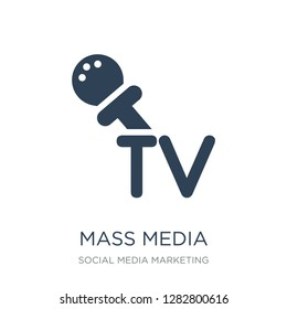 mass media icon vector on white background, mass media trendy filled icons from Social media marketing collection, mass media vector illustration