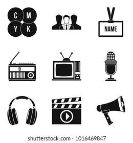 Mass media icons set. Simple set of 9 mass media vector icons for web isolated on white background