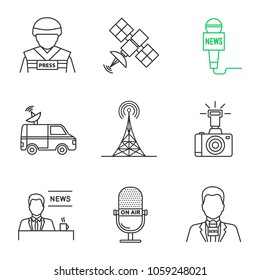 Mass media linear icons set. Press. War correspondent, satellite, microphones, news van, radio tower, photo camera, TV presenter. Thin line contour symbols. Isolated vector outline illustrations