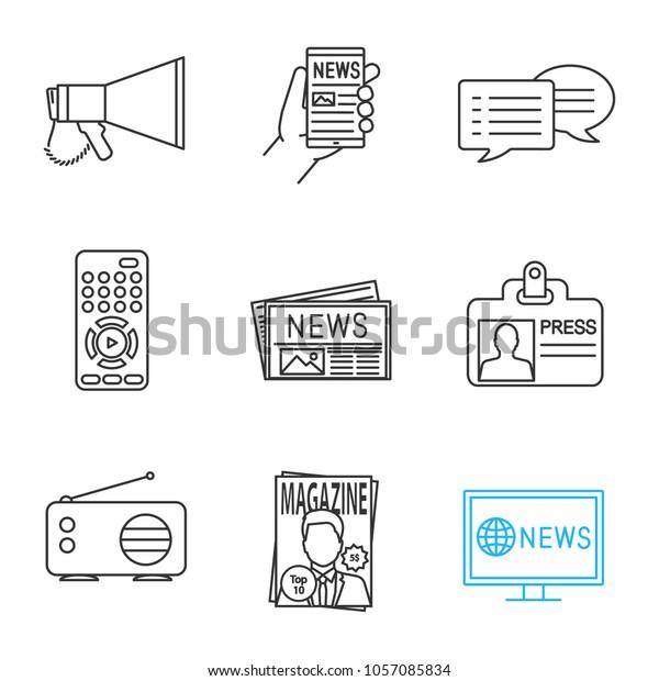 Mass Media Linear Icons Set Megaphone Stock Vector (Royalty Free