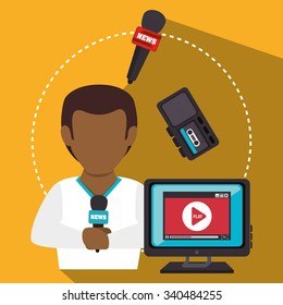 Mass media news graphic design with icons, vector illustration