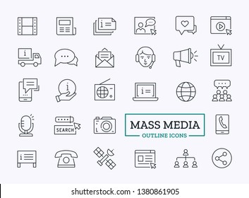 Mass Media Outline Icons. Vector Modern Symbols for Web.