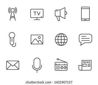 mass media outline vector icons set isolated on white background. media line icons for web and ui design. media business concept
