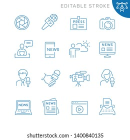 Mass media related icons. Editable stroke. Thin vector icon set, black and white kit