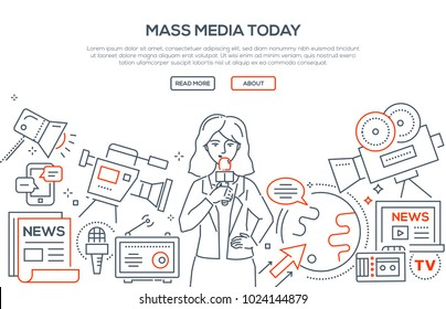 Mass media today - modern line design style illustration on white background. Banner with heading, place for your text and information. Cute journalist, cameras, breaking news, microphone, worldwide