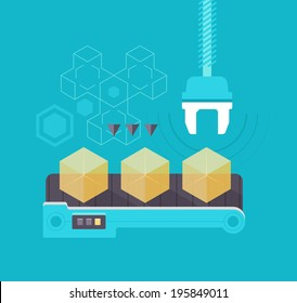 Mass production concept. Semi-transparent yellow boxes on a assembly line