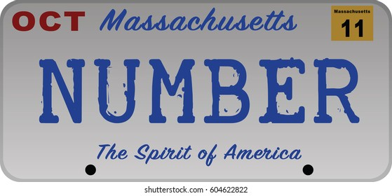Massachusetts car registration number plates
