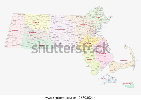 Machusetts Counties Cities Towns Map Stock Vector ... on