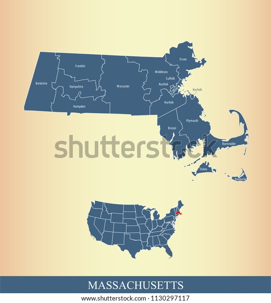 Machusetts County Map Vector Outline Counties Stock ... on