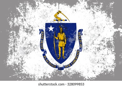 Massachusetts grunge, old, scratched style state flag