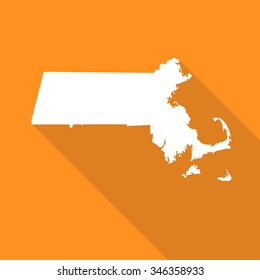 Massachusetts map flat simple style with long shadow.