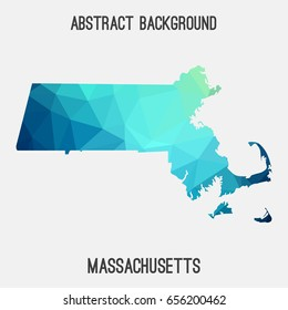 Massachusetts map in geometric polygonal,mosaic style in cold shades.Abstract tessellation,modern design background,low poly. Vector illustration.