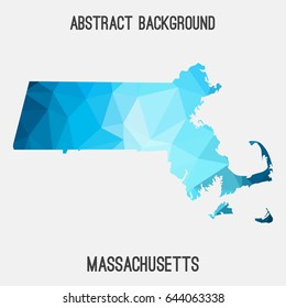 Massachusetts map in geometric polygonal,mosaic style.Abstract tessellation,modern design background,low poly. Vector illustration.