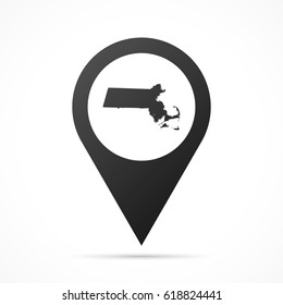 Massachusetts Map on location pin. Map pointer isolated on a white background. Conceptual vector illustration.