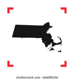 Massachusetts map in a red viewfinder isolated on white background. Conceptual vector illustration, easy to edit.