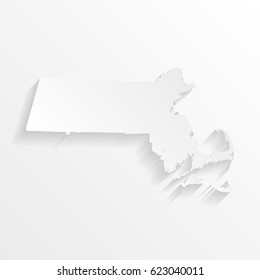 Massachusetts Map with shadow. Cut paper isolated on a white background. Vector illustration.