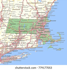 Massachusetts map. Shows state borders, urban areas, place names, roads and highways.Projection: Mercator.