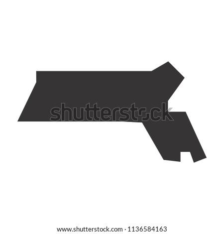 Massachusetts Map Simple Black Map Vector Stock Vector Royalty Free