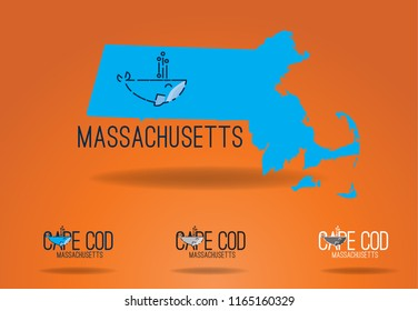 Massachusetts map with whale graphic and cape cod logo design vector eps 10