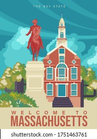 Massachusetts is on a tourist poster. The east state of the US. Boston area. Landmarks are on printable card for tourists in vintage and retro style