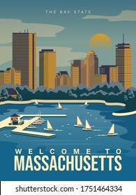 Massachusetts is on a tourist poster. The east state of the US. Boston bay area. Printable card for tourists in vintage and retro style