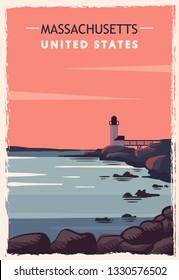 Massachusetts retro poster. USA Massachusetts travel illustration. United States of America greeting card. vector illustration.