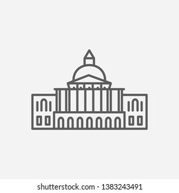 Massachusetts state capitol icon line symbol. Isolated vector illustration of  icon sign concept for your web site mobile app logo UI design.