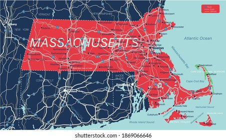 Massachusetts state detailed editable map with cities and towns, geographic sites, roads, railways, interstates and U.S. highways. Vector EPS-10 file, trending color scheme
