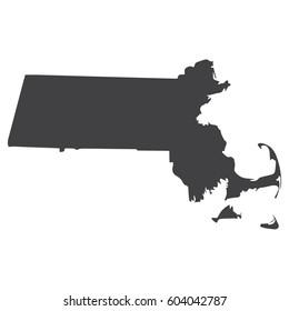 Massachusetts state map in black on a white background. Vector illustration