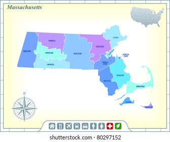 Massachusetts State Map with Community Assistance and Activates Icons Original Illustration