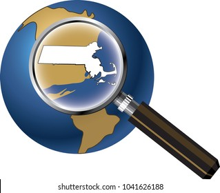Massachusetts State Map Enlarged with Magnifying Glass on Globe