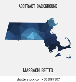 Massachusetts state map in geometric polygonal style.Abstract tessellation,modern design background. Vector illustration EPS8