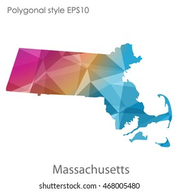 Massachusetts state map in geometric polygonal style.Abstract gems triangle,modern design background. Vector illustration EPS10