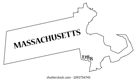 A Massachusetts state outline with the date of statehood isolated on a white background