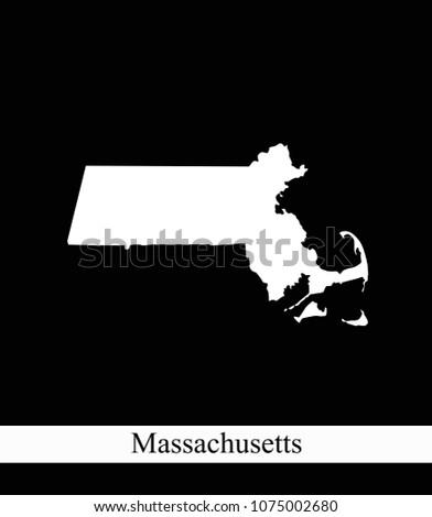 Massachusetts State USA Map Vector Outline Stock Vector (Royalty ...
