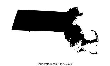 Massachusetts vector map silhouette isolated on white background. High detailed silhouette illustration. United state of America country.