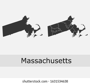 Massachusetts vector maps counties, townships, regions, municipalities, departments, borders