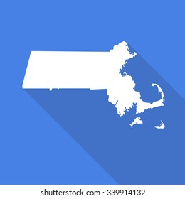 Massachusetts white map,border flat simple style with long shadow on blue background