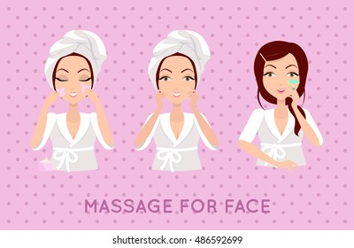 Massage for face set. Set of beautiful, elegant woman head massaging her face. SPA, health and beauty set. Set of face skin care with home remedies. Skin care. Girl in white bathrobe and towel on head