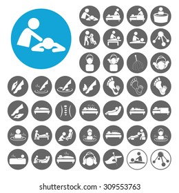 Massage icons set. Illustration EPS10